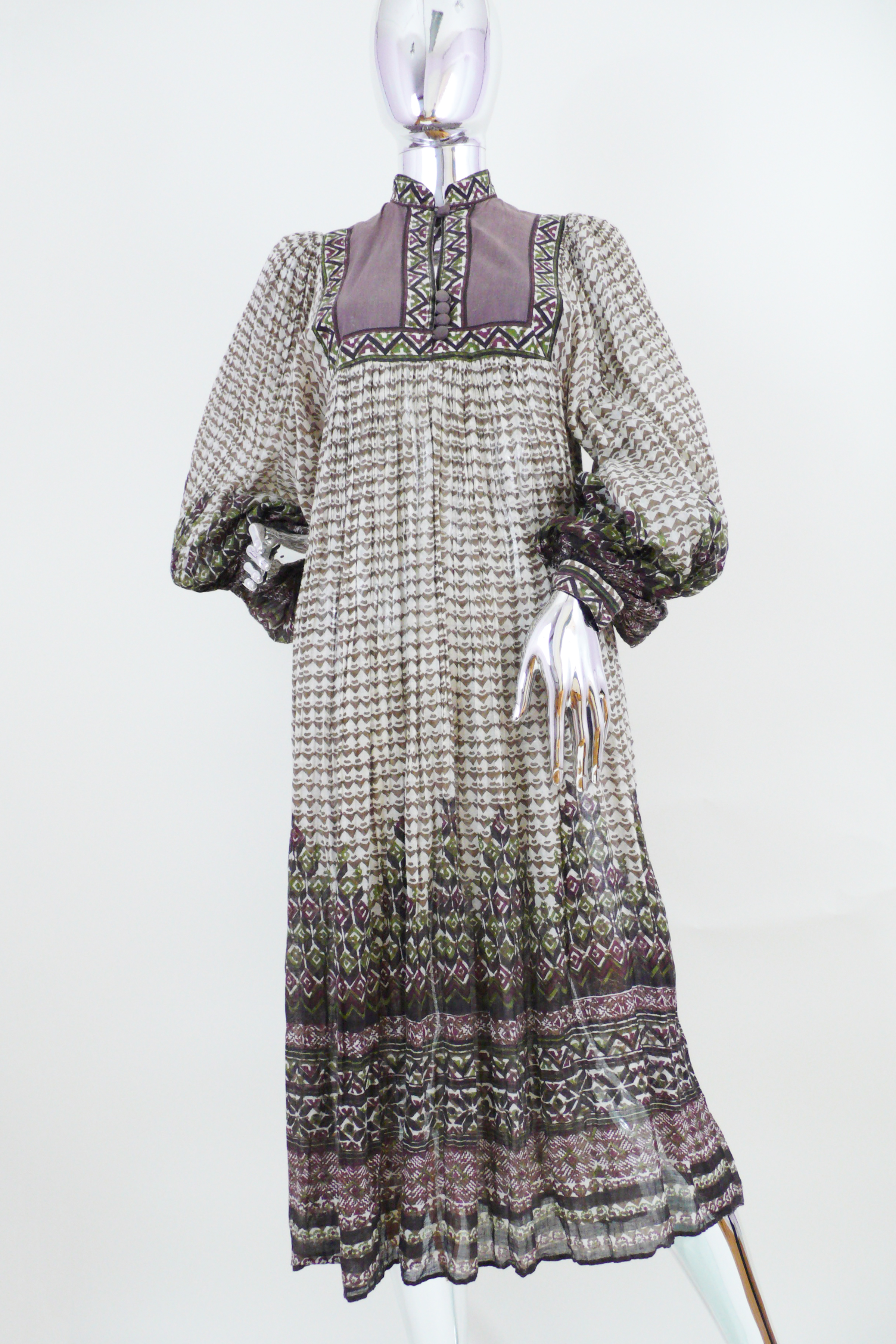 Indian Cotton Dress with Geometric Print