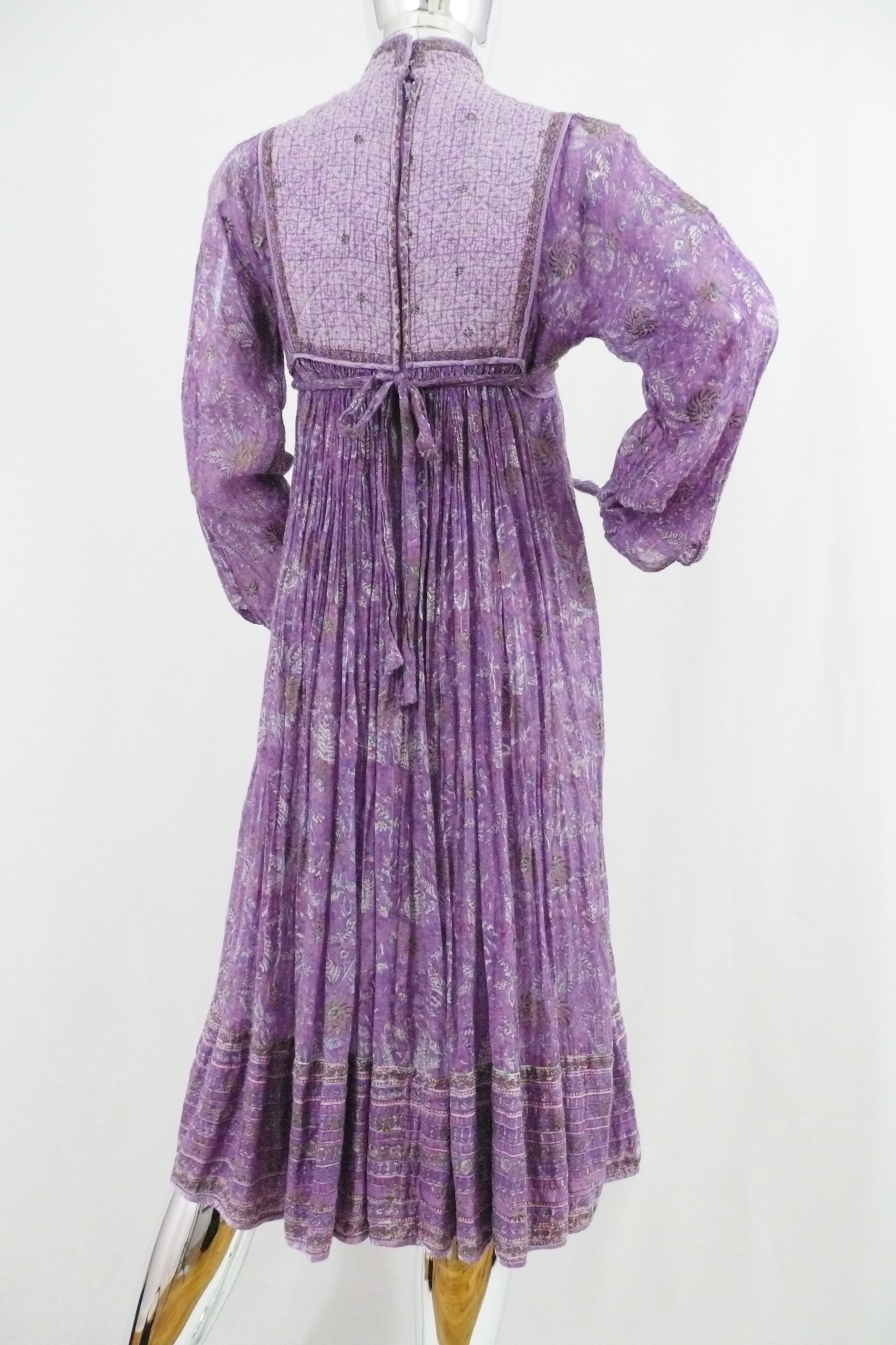 Lavender Cotton Indian Dress with High Neck