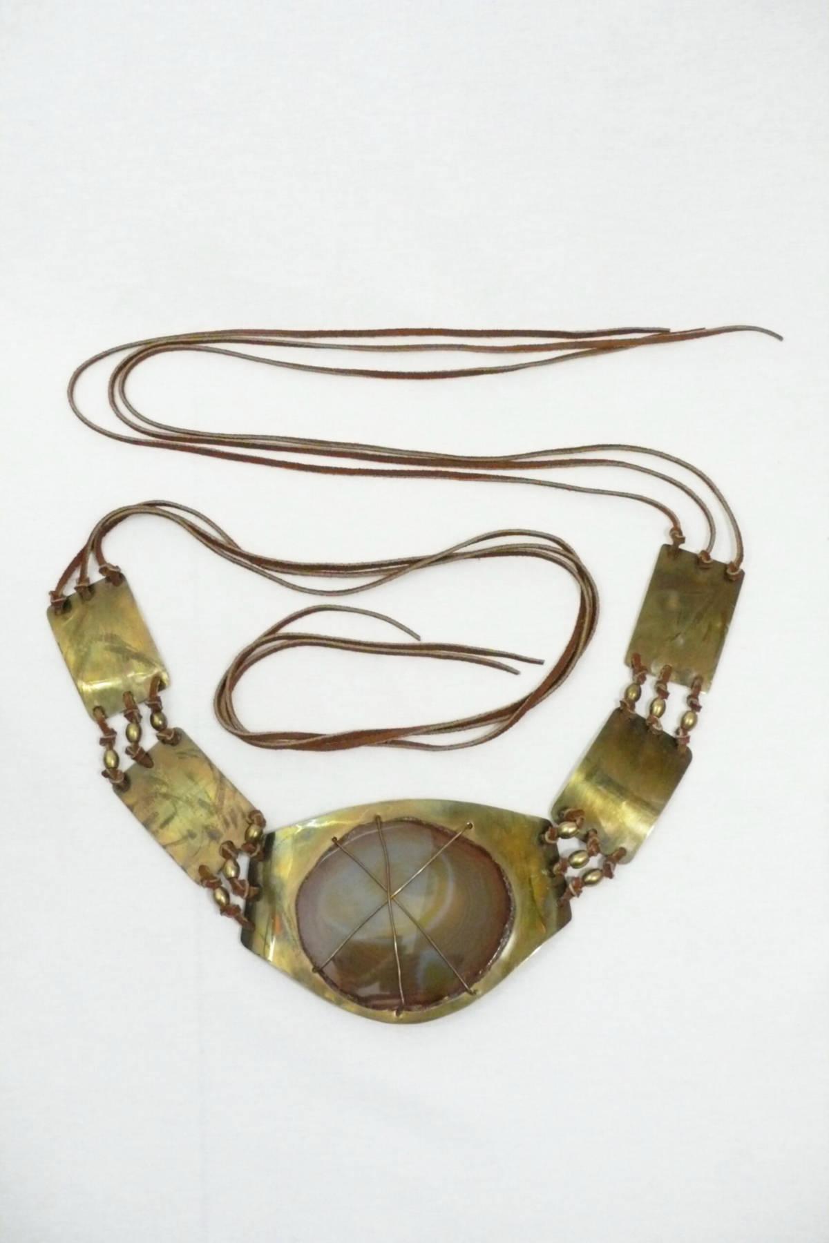 Brass Geode Belt with Suede Ties