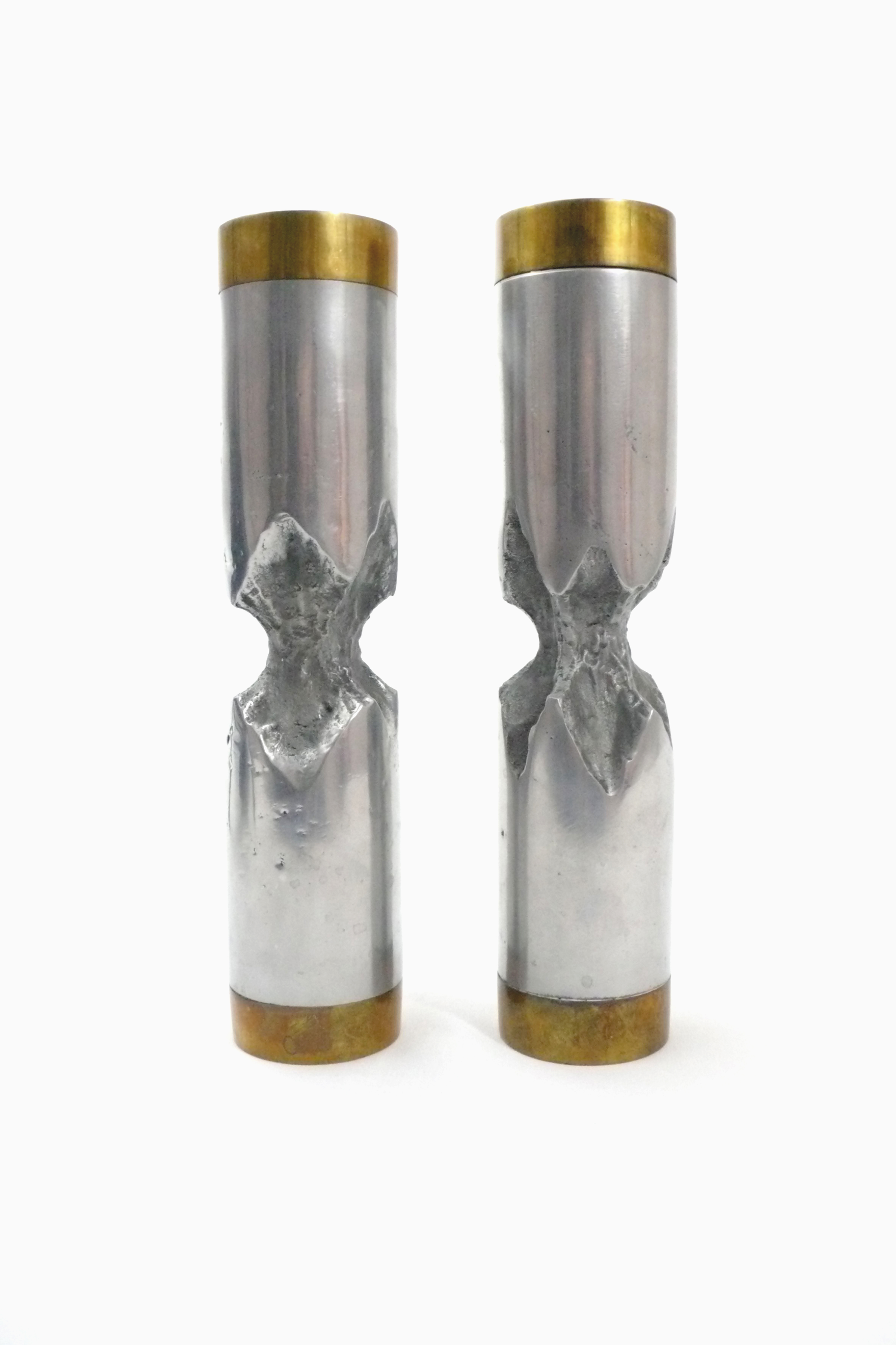 Pair of Heavy Aluminum and Brass Candlesticks