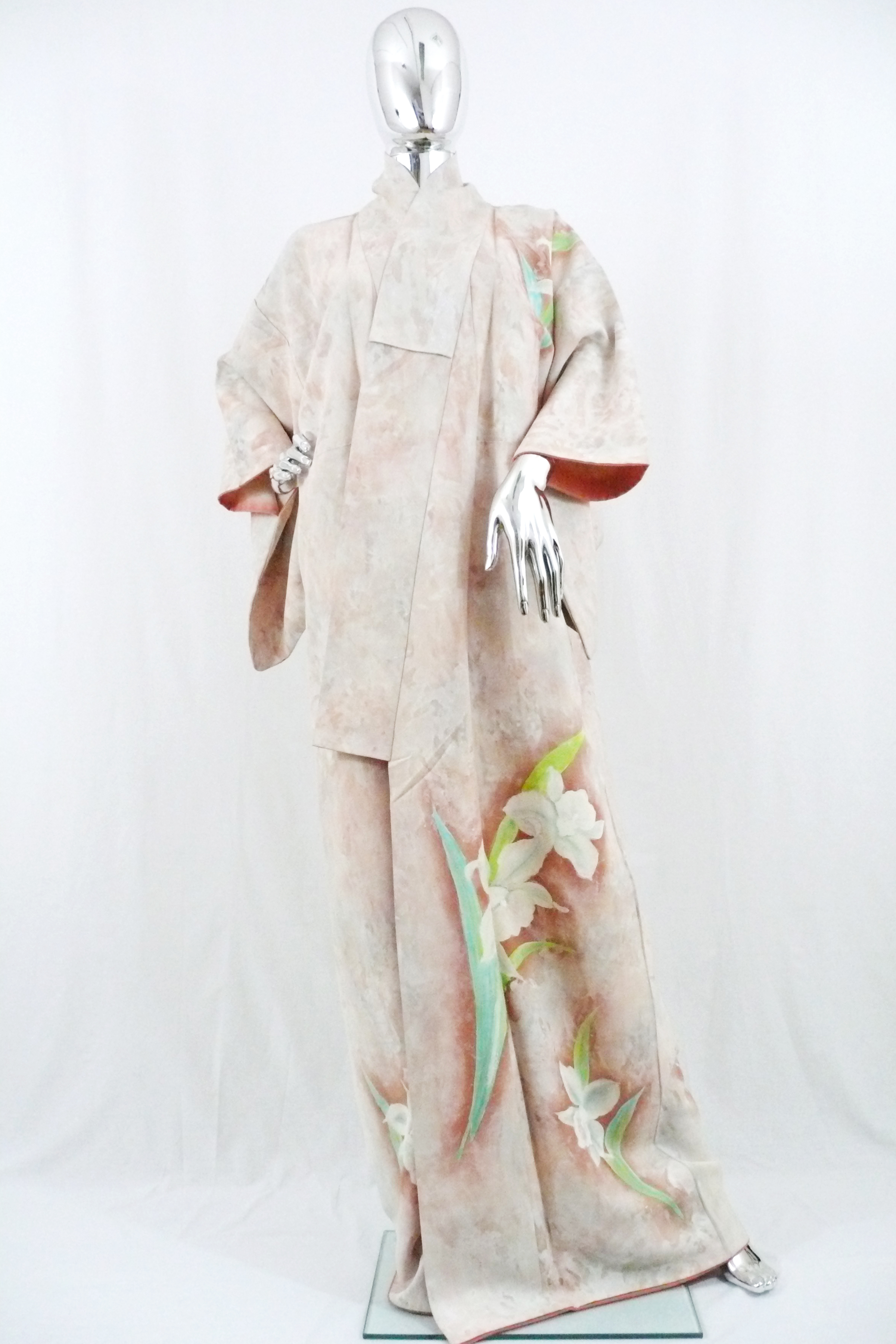 Kimono with Handpainted Orchids