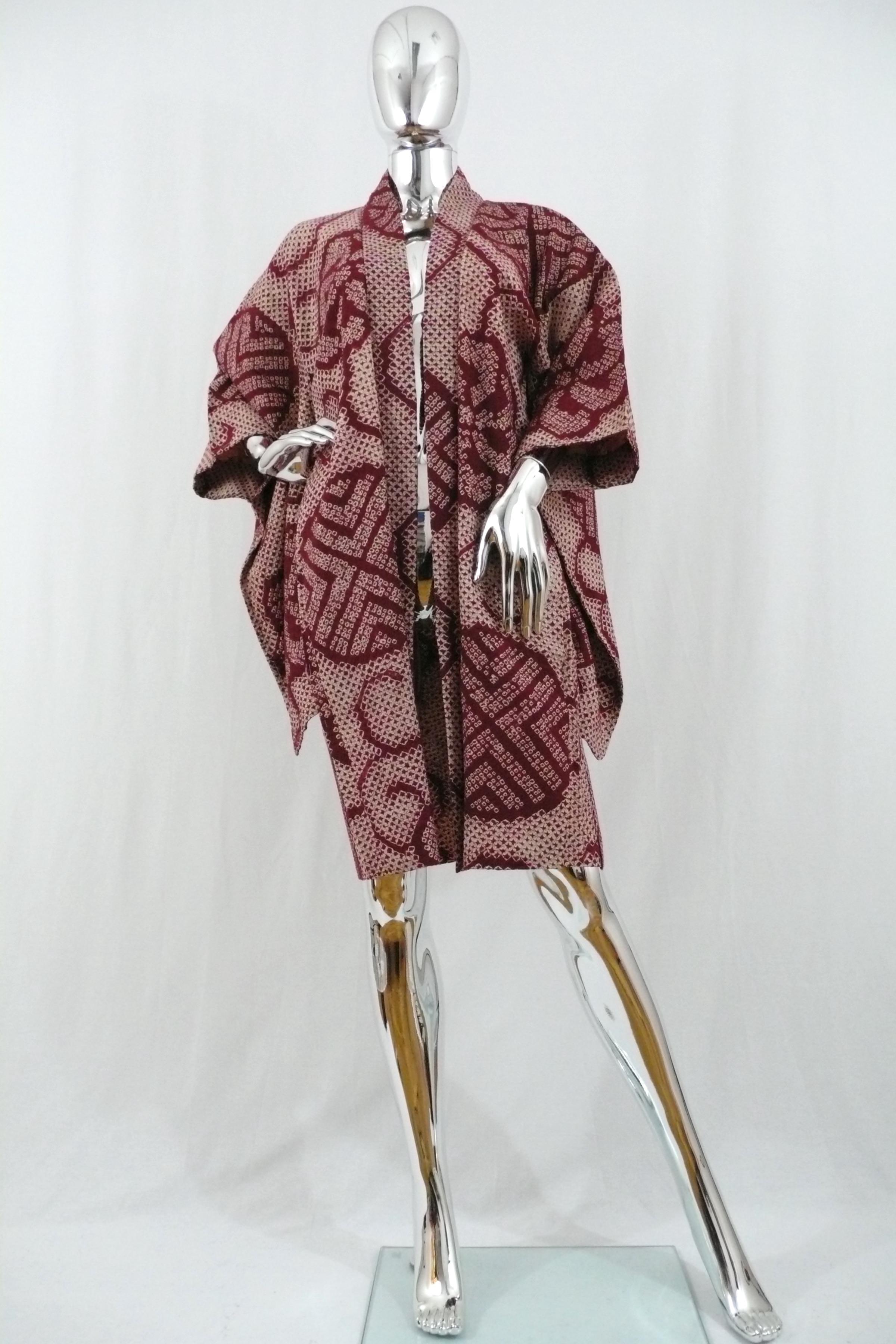 Burgundy Silk Shibori Kimono Jacket