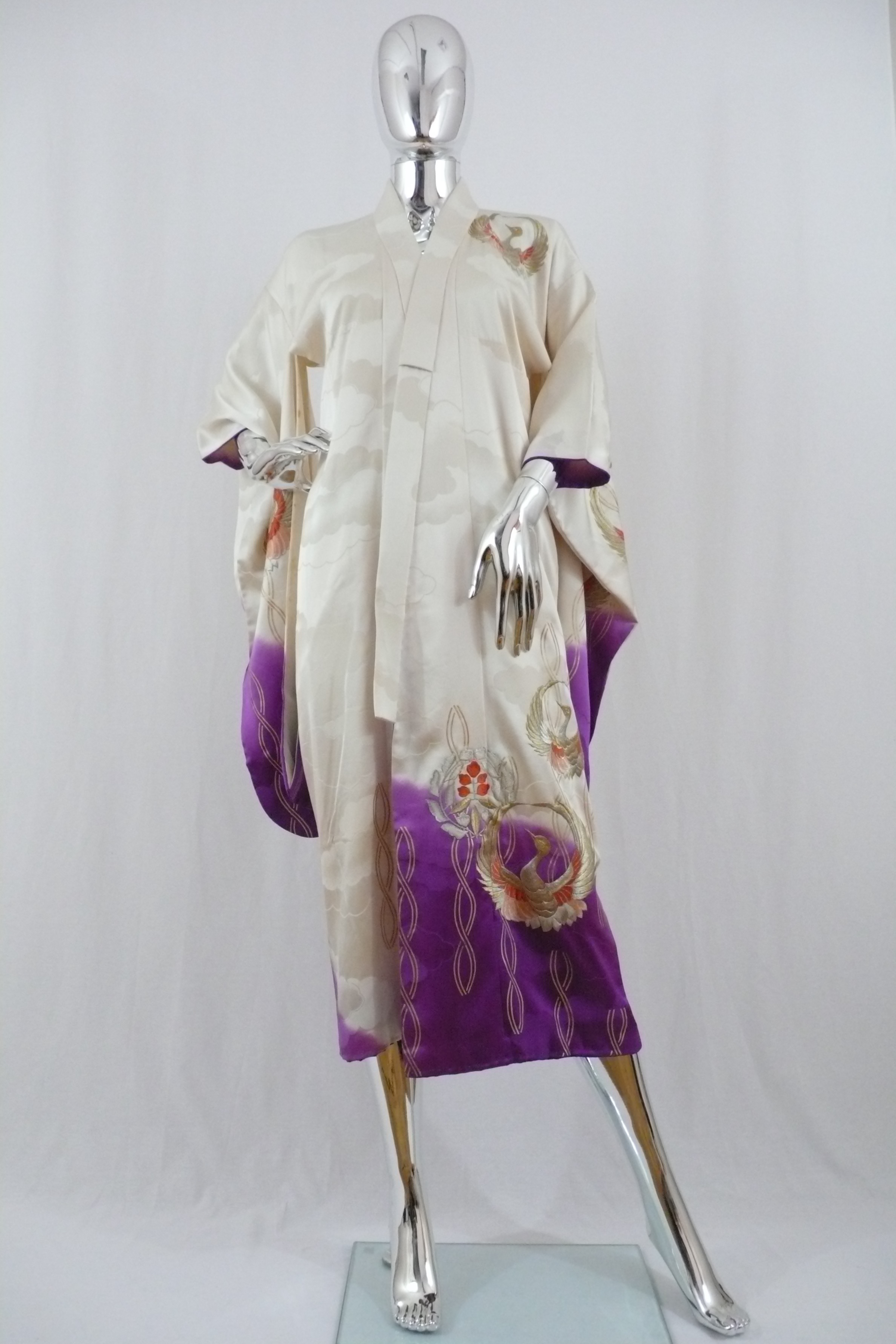 White and Purple Kimono with Gold Cranes