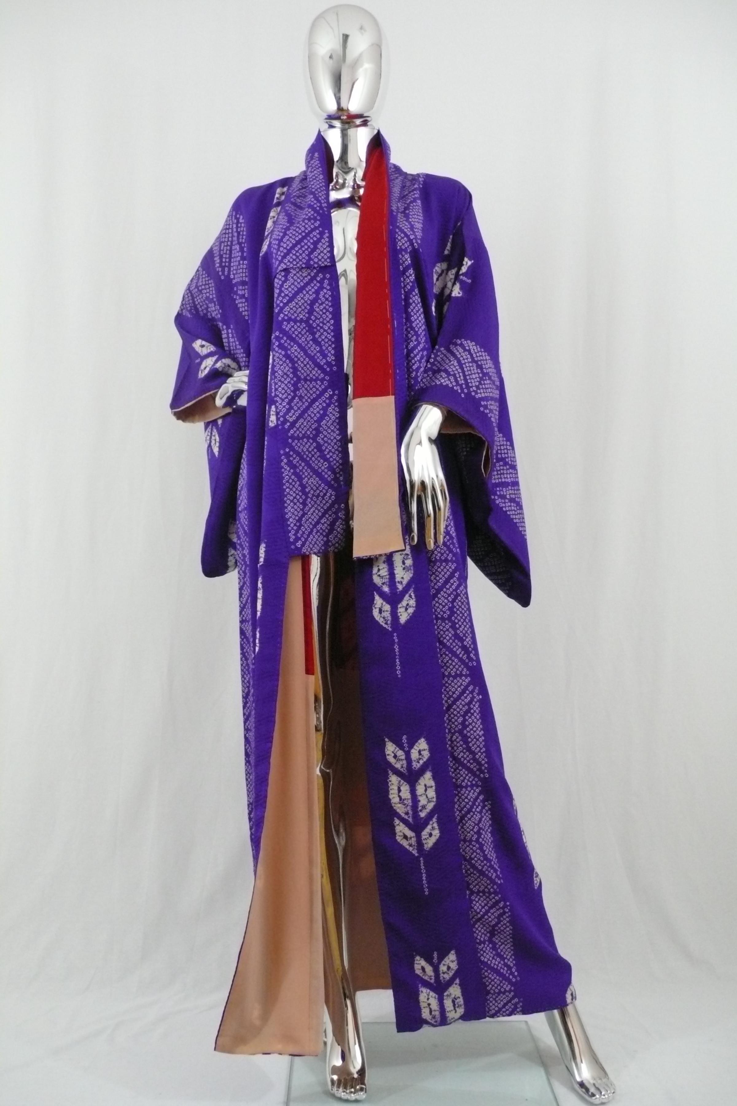 Purple Long Shibori Kimono