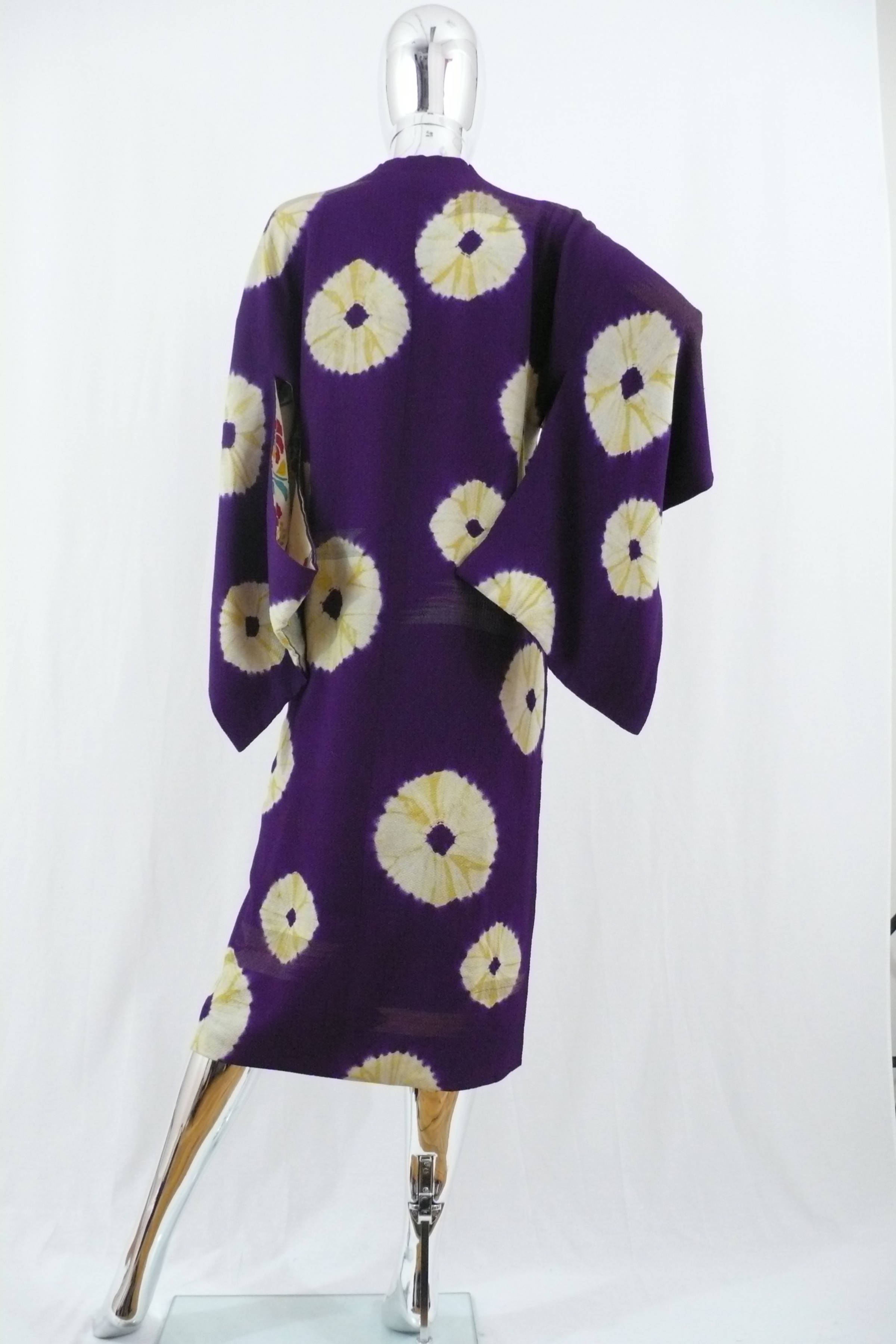 Purple Kimono Jacket with Yellow Tie Dye