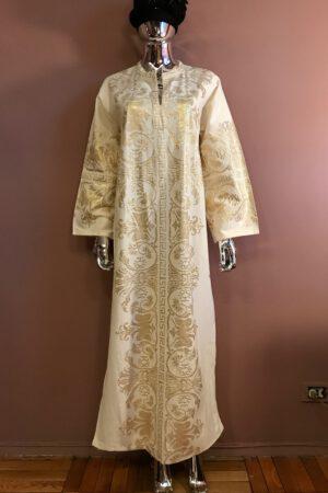 White & gold cotton / metallic caftan