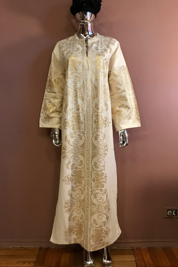 White & gold cotton / metallic caftan