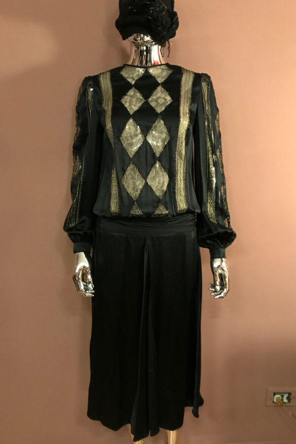 Black satin and gold lace Harlequin dress