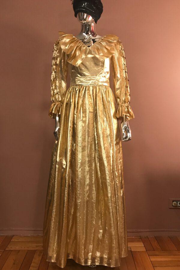 Gold stripe organza gown