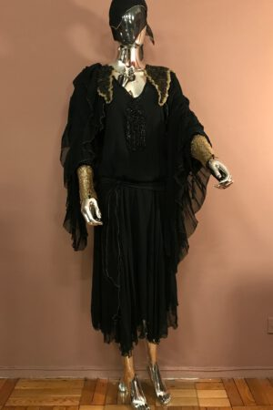 Silk chiffon and antique lace handmade dress