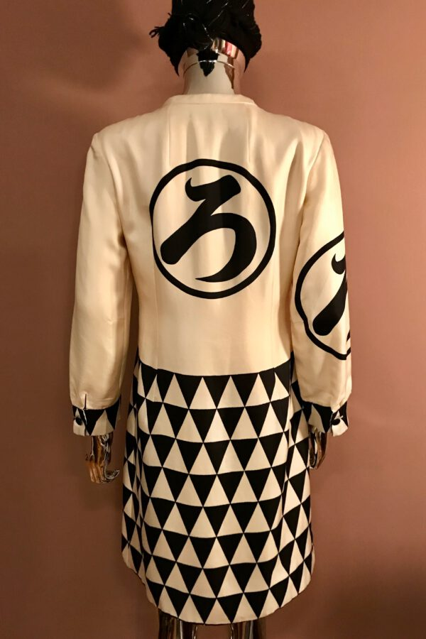 Hanae Mori Black and White Silk Twill Dress