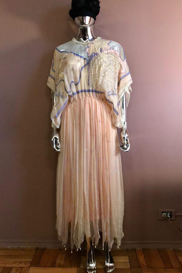 Zandra Rhodes 1978 Hand-Painted Silk Chiffon Dress with Pearls