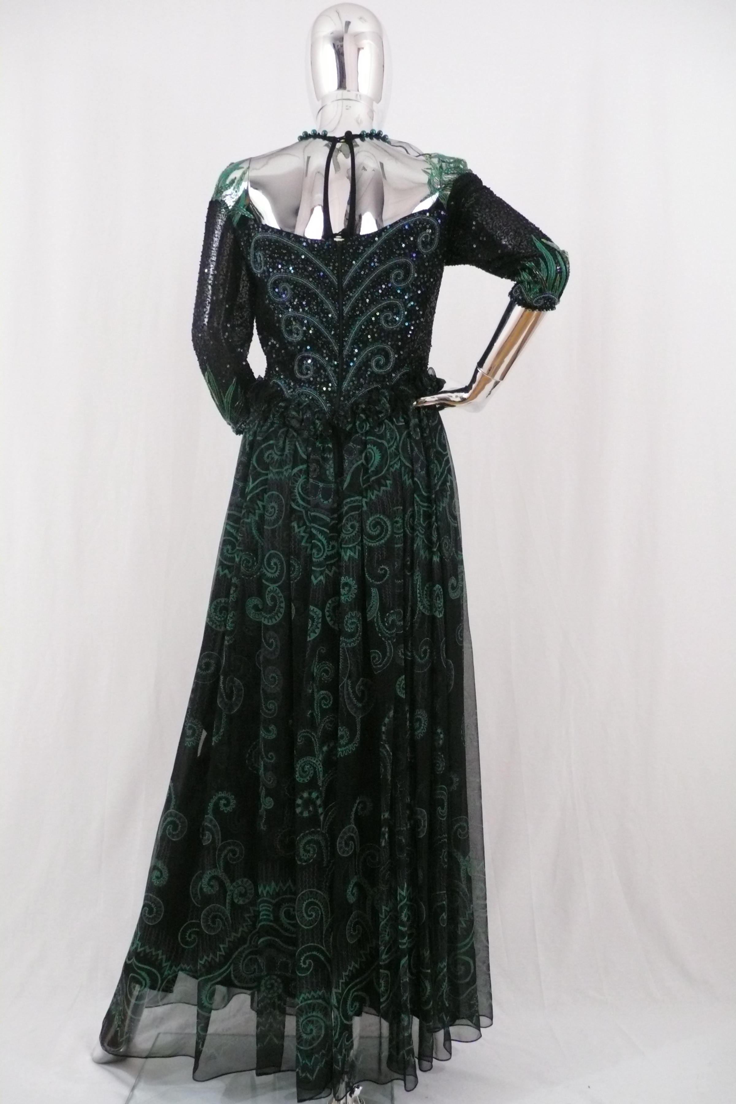 ZANDRA RHODES Black and Green Beaded Gown