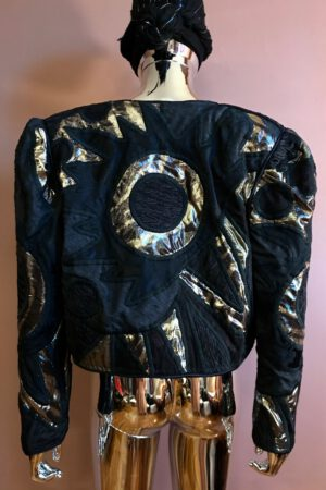 Black & gold artisanal patchwork jacket