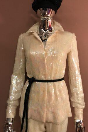 Halston sequin suit