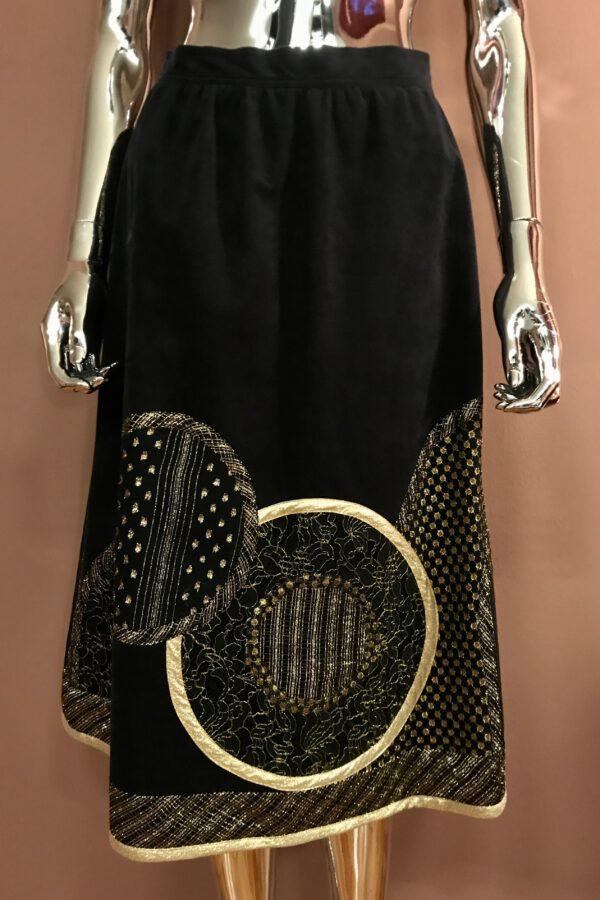 Black & gold appliqué skirt