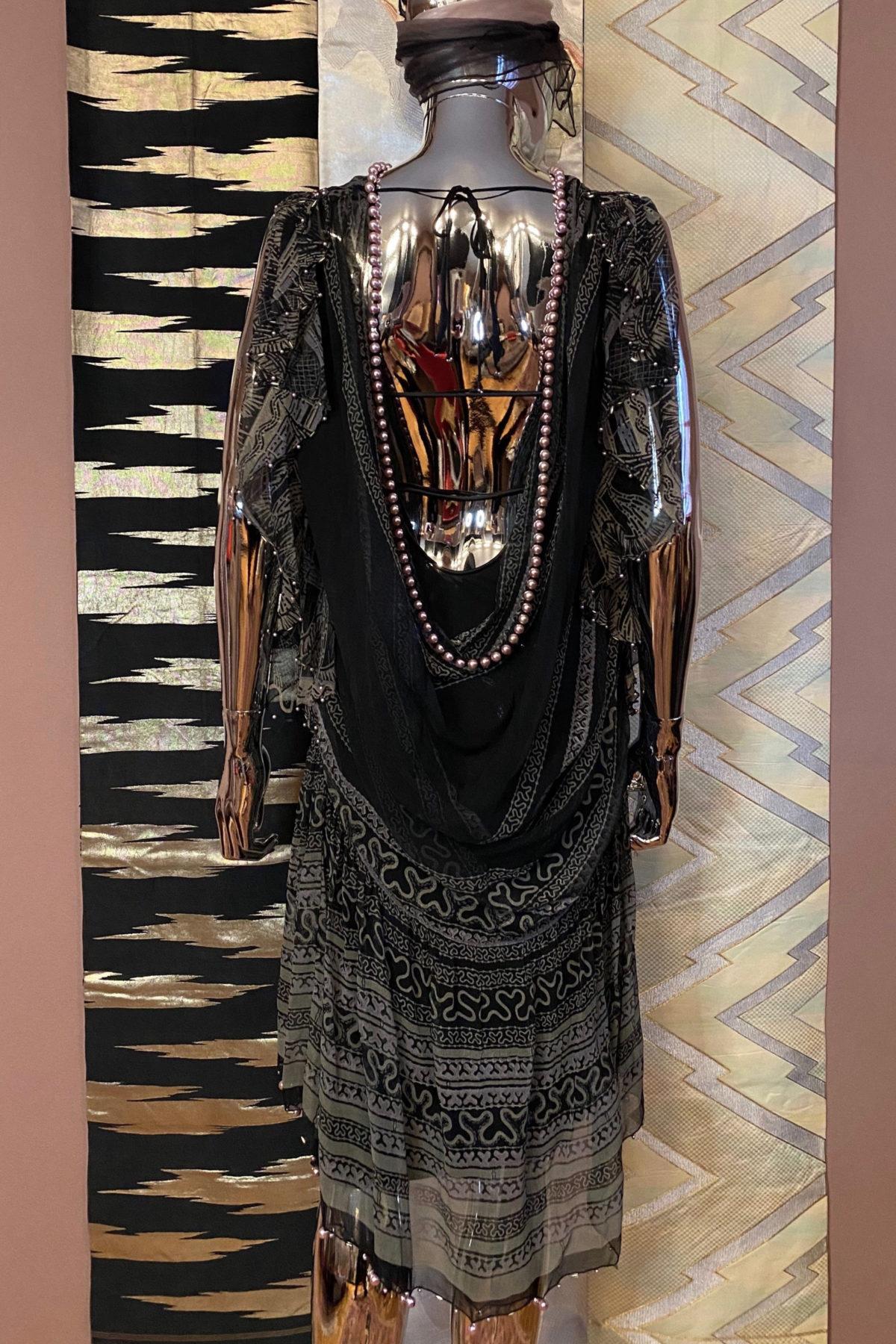 Zandra Rhodes Silk Chiffon Dress with Pearl Trim