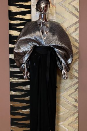 SILVER ACCORDION PLEAT DRESS