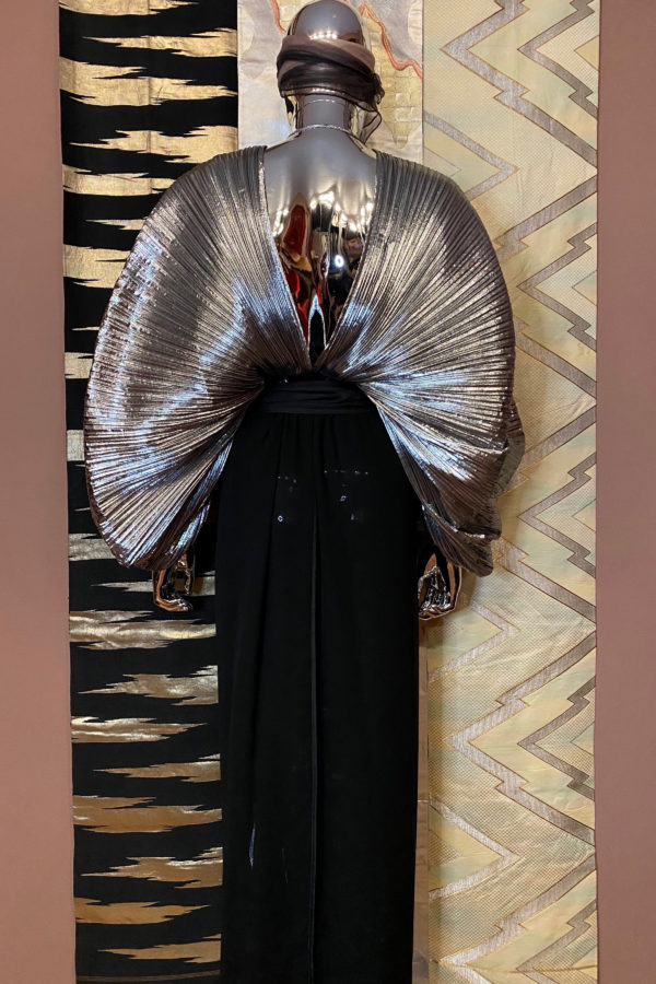 SILVER ACCORDION PLEAT DRESS