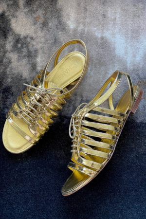 CHANEL GOLD LACE-UP CAGE SHOE